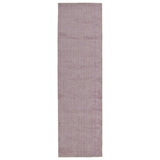 Solid Chic Lilac and Khaki Hand-Tufted Rug (2'3 x 8')