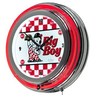 Bobs Big Boy Chrome Double Ring Neon Clock