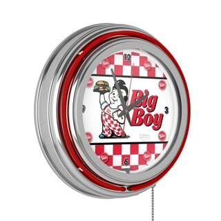 Bobs Big Boy Chrome Double Ring Neon Clock