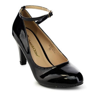 Chase and Chloe Kimmy-32 Women's Round Toe Ankle Strap Mid Heel Dress Pumps