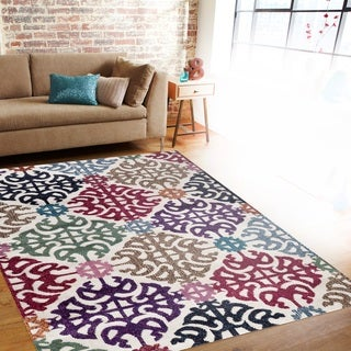 Contemporary Geometric Multi Color Soft Indoor Area Rug (7'10 x 10'2)