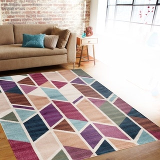 Modern Geometric Multi Color Soft Indoor Area Rug (5'3 x 7'3)
