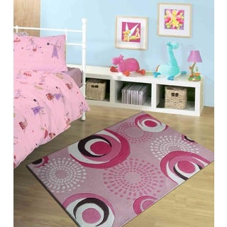 Hand-tufted Circles Pink Kids' Rug (4' x 6')