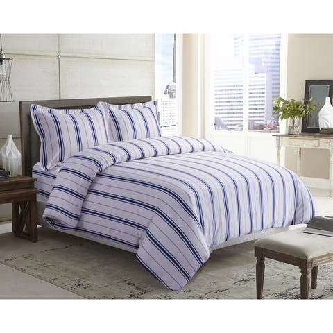Stripe Printed 170-GSM Flannel Oversize 3-piece Duvet Cover Set
