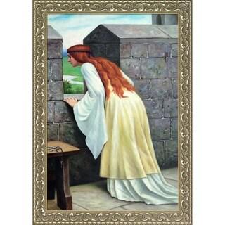 Edmund Leighton 'An Arrival, 1916' Hand Painted Framed Canvas Art