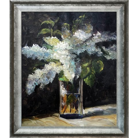 Edouard Manet 'Lilacs in a Vase' Hand Painted Framed Canvas Art