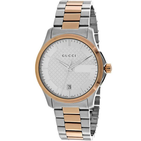 84738718b9 Gucci Women's 'Timeless' Silver Dial Two Tone Stainless Steel Swiss ...