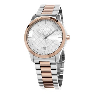 Gucci Women's YA126447 'Timeless' Silver Dial Two Tone Stainless Steel Swiss Quartz Watch