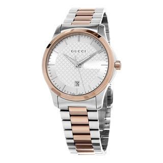 Gucci Women's YA126447 'Timeless' Silver Dial Two Tone Stainless Steel Swiss Quartz Watch|https://ak1.ostkcdn.com/images/products/10654436/P17721061.jpg?impolicy=medium