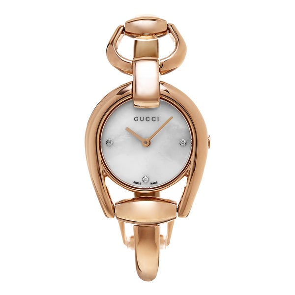 3ccc68f70c3 Shop Gucci Women s  Horse bit  Mother of Pearl Diamond Dial Rose ...