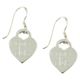 Handmade Sterling Silver High Polish Engraved Heart Drop Earrings (Mexico)