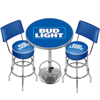 Bud light pub table free shipping today overstock 17722654 ultimate bud light gameroom combo 2 bar stools and table watchthetrailerfo