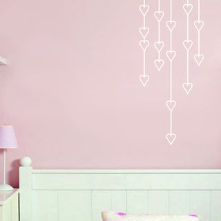 Hanging Hearts 14-inch x 32-inch Wall Decal