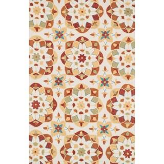 Hand-hooked Charlotte Ivory/ Spice Kaleidoscope Rug (7'6 x 9'6)