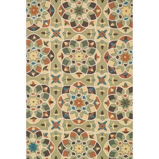 Hand-hooked Charlotte Green/ Spice Kaleidoscope Rug (5'0 x 7'6)