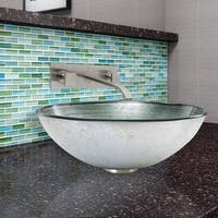 VIGO Simply Silver Glass Vessel Sink and Titus Wall Mount Faucet Set in Brushed Nickel