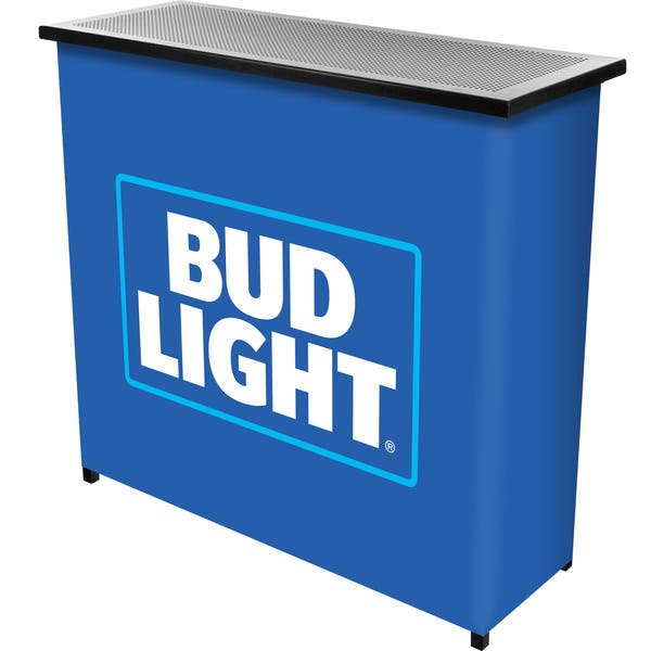 Bud Light Metal 2 Shelf Portable Bar Table W Carrying Case