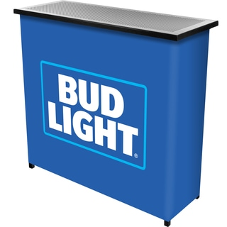 Bud Light Metal 2 Shelf Portable Bar Table w/ Carrying Case