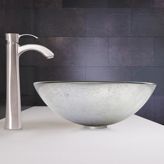 VIGO Simply Silver Glass Vessel Sink and Otis Faucet Set in Brushed Nickel