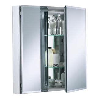 Kohler Double Door 25 inch W x 26 inch H x 5 inch D Aluminum Cabinet with Square Mirrored Door in Silver
