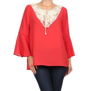 MOA Collection Women's Plus Size Top with Crochet Neckline