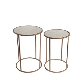 Privilege Gold 2-piece Iron Accent Table Set