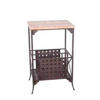 Privilege Dark Rustic Brown Wood Washed Iron Accent Stand