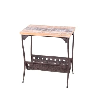 Privilege Rustic Brown Washed Wood/ Iron Magazine Accent Stand