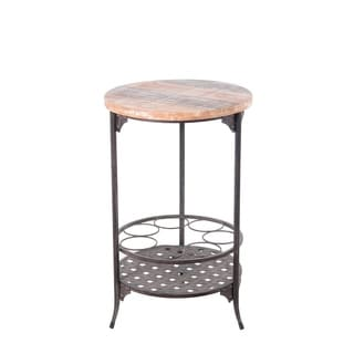Privilege dark rustic brown / washed wood round iron and wood wine stand