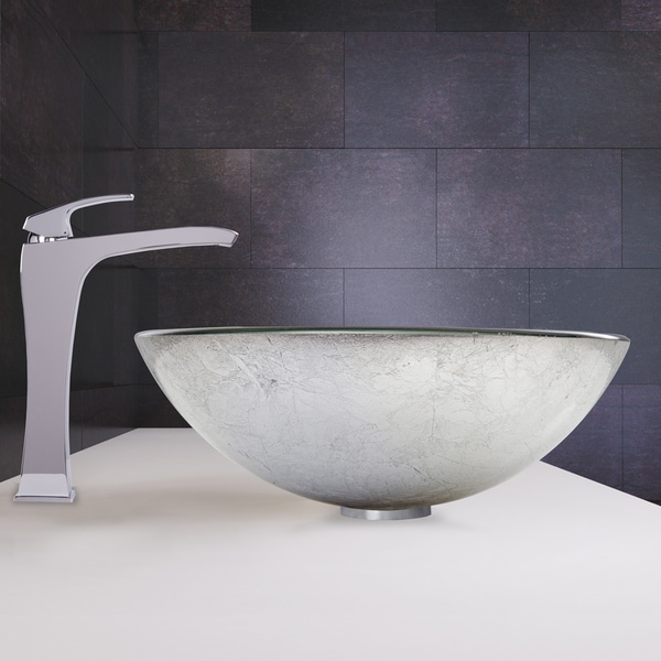 VIGO Simply Silver Glass Vessel Sink And Blackstonian Faucet Set In Chrome