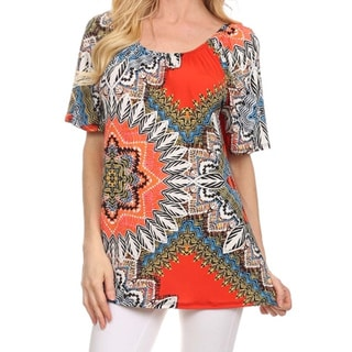 MOA Collection Women's Plus Size Mandala Print Tunic