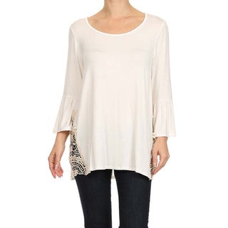 MOA Collection Women's Plus Size Solid Tunic with Crochet Detail