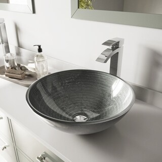VIGO Simply Silver Glass Vessel Sink and Duris Faucet Set in Chrome