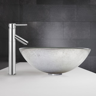 VIGO Simply Silver Glass Vessel Sink and Dior Faucet Set in Chrome