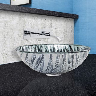 VIGO Rising Moon Glass Vessel Sink and Titus Wall Mount Faucet Set in Chrome