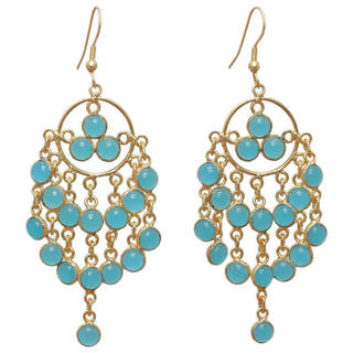 Link to Handmade Gold Overlay Chalcedony Chandelier Earrings (India) Similar Items in Earrings