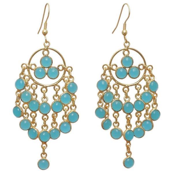 Handmade Gold Overlay Chalcedony Chandelier Earrings (India). Opens flyout.