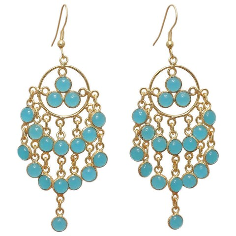 Handmade Gold Overlay Chalcedony Chandelier Earrings (India) - Blue