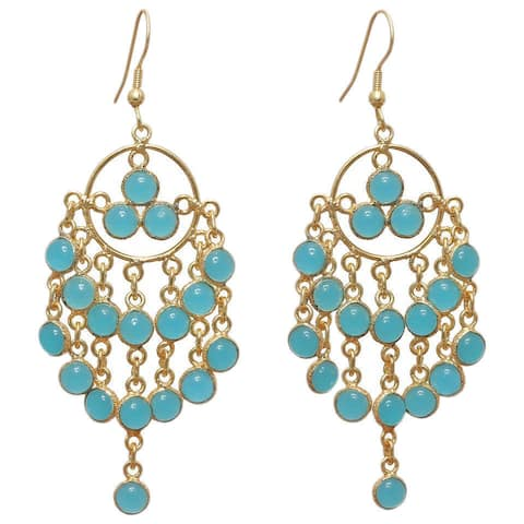 Handmade Gold Overlay Chalcedony Chandelier Earrings (India)