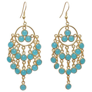Handmade Gold-plated Brass Aqua Chalcedony Chandelier Earrings (India)