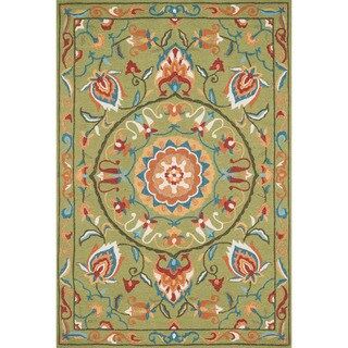 Hand-hooked Charlotte Green/ Multi Rug (3'6 x 5'6)