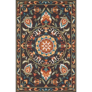 Hand-hooked Charlotte Brown/ Green Rug (2'3 x 3'9)