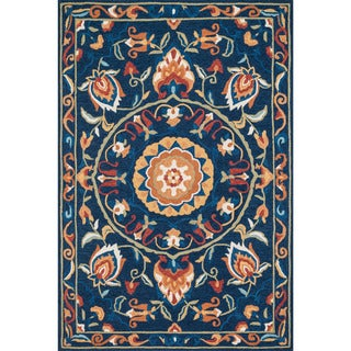 Hand-hooked Charlotte Blue/ Spice Rug (2'3 x 3'9)