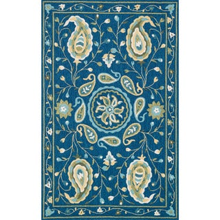 Hand-hooked Charlotte Blue/ Green Paisley Rug (5'0 x 7'6)