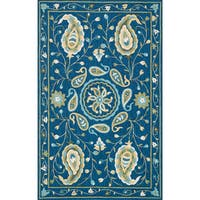 """Hand-hooked Charlotte Blue/ Green Paisley Rug - 5' x 7'6"""""""