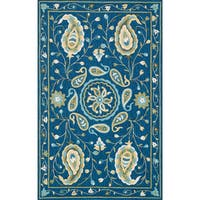Hand-hooked Charlotte Blue/ Green Paisley Rug - 3'6 x 5'6