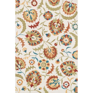 Hand-hooked Charlotte Ivory/ Spice Floral Rug (7'6 x 9'6)
