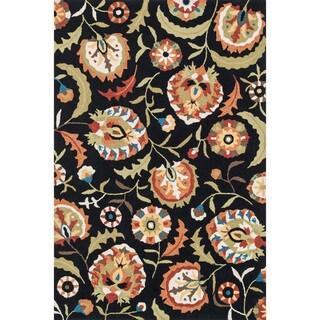 Hand-hooked Charlotte Black/ Multi Floral Rug (3'6 x 5'6)