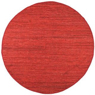 Red Matador Leather Chindi (3'x3') Round Rug