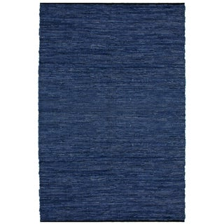 "Blue Matador Leather Chindi (30""x50"") Rug"